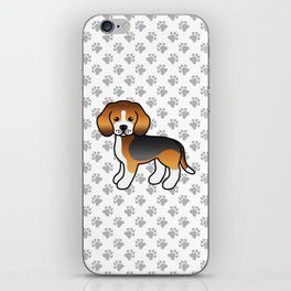 Cute Tricolor Beagle Dog Cartoon Illustration iPhone Skin