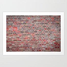 brick wall background - red vintage stone Art Print