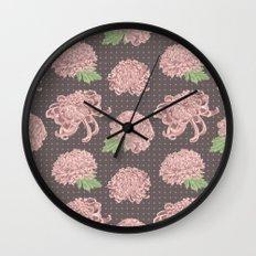 Soft Pink Chrysantemum Seamless Pattern Wall Clock