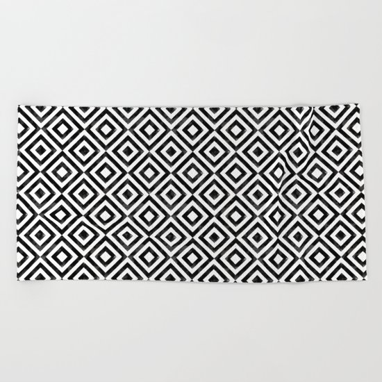 Black and white watercolor diamond pattern Beach Towel