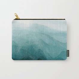 Sunrise in the mountains, dawn, teal, abstract watercolor Carry-All Pouch