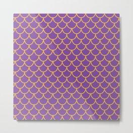 Mermaid Scales Pattern in Purple. Gold Scallops_Purple Metal Print