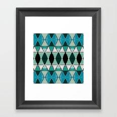 Art Deco Triangles Blue Framed Art Print
