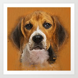 Beagle dog digital art Art Print