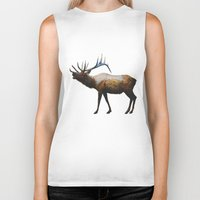 rocky Biker Tanks featuring The Rocky Mountain Elk by Davies Babies