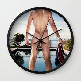 Swimming Naked Wall Clock