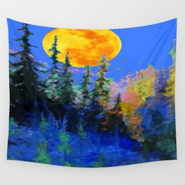FULL MOON OVER BLUE MOUNTAIN FOREST DESIGN Wall Tapestry