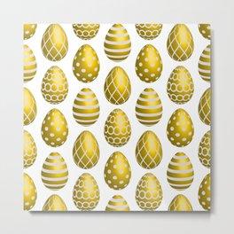 Happy golden yellow Easter eggs Metal Print