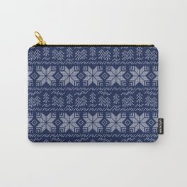 Blue and white Christmas pattern. Carry-All Pouch