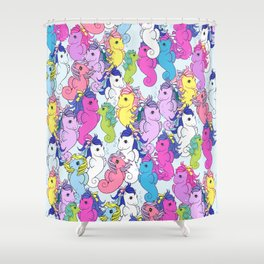 G1 My Little Pony Sea Collage Shower Curtain