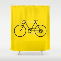 bicycle Shower Curtains featuring Bicycle by Luke Turner