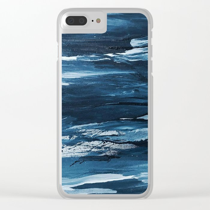 Blue Brush Strokes Clear iPhone Case