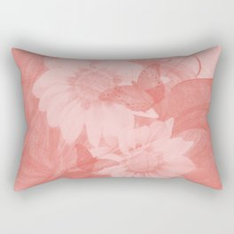Surreal butterflies and flowers in living coral Rectangular Pillow