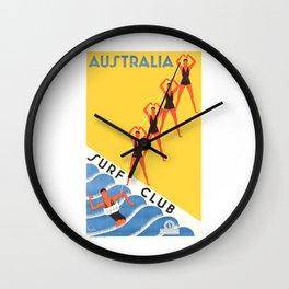 1930 Australia Surf Club Travel Poster Wall Clock