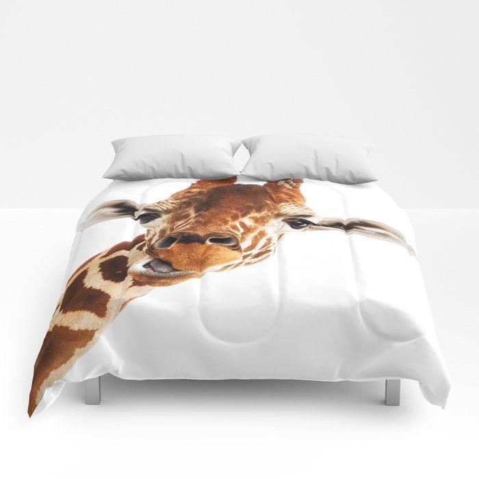 Silly Giraffe // Wild Animal Portrait Cute Zoo Safari Madagascar Wildlife Nursery Ideas Decor Comforters