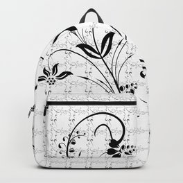 Abstract black floral ornament Backpack