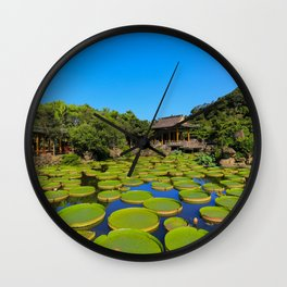 Asian Garden Pond Landscape Wall Clock