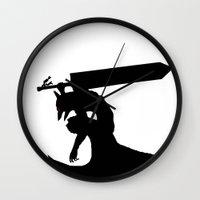 berserk Wall Clocks featuring Gatsu berserk armor by Ednathum