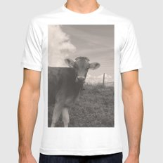 vintage cow MEDIUM Mens Fitted Tee White