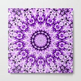 Ice Crystal Mandala (violet purple) Metal Print