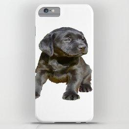 Adorable and Cute Black Labrador Puppy Vector iPhone Case
