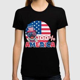 4th Of July - Happy Pug 100% America T-shirt