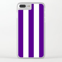 Indigo violet - solid color - white vertical lines pattern Clear iPhone Case