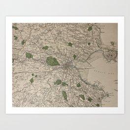 19th Century Topographical Vintage Antique Map Dublin Ireland Steampunk Art Print