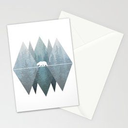 Misty Forest Mountain Bear Stationery Cards