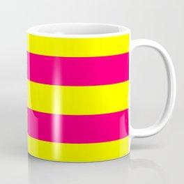 Bright Neon Pink and Yellow Horizontal Cabana Tent Stripes Coffee Mug