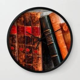 Rustic Antique Library Books Shelf Wall Clock