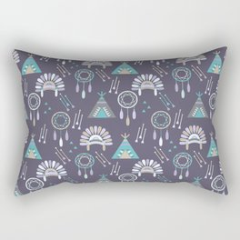 Indian Pattern Purple Rectangular Pillow