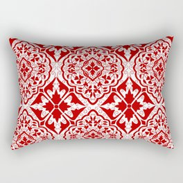BOHEMIAN PALACE, ORNATE DAMASK: RED and WHITE Rectangular Pillow