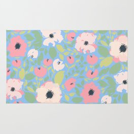 Bright Pink and Blue Floral Anemone Pattern Rug