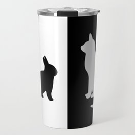 White Cat with black Rabbit Travel Mug