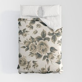 Country chic vintage black white bohemian floral Comforters