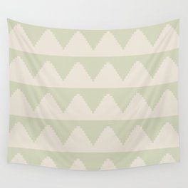 Geometric Pyramid Pattern - Soft Green Wall Tapestry