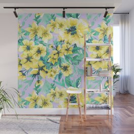 Floral Print Tropical Yellow Wall Mural