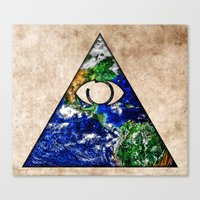 all seeing eye Canvas Prints featuring All Seeing Eye by Spooky Dooky