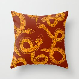Red & Gold Snakes Throw Pillow