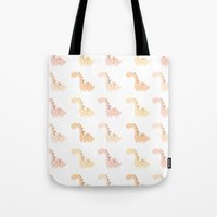 dinosaurs Tote Bags featuring Dinosaurs! by Juice for Breakfast