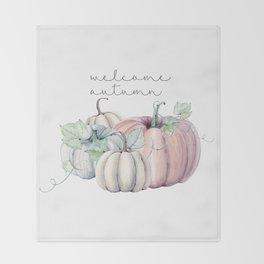welcome autumn orange pumpkin Throw Blanket
