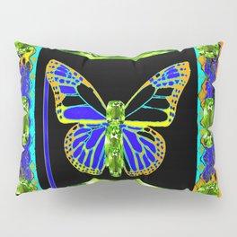 Lime Greenish Peridots Gems Jeweled Butterfly Design Pillow Sham