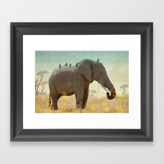 along for the ride _ an elephant and his feathered friends Framed Art Print
