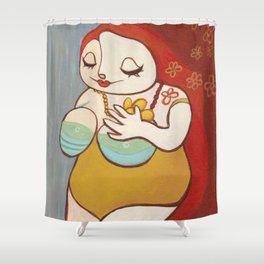 A HAPPY WOMAN Shower Curtain