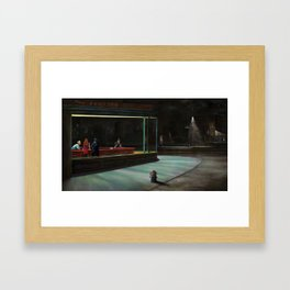 Nighthawks (oil on canvas) Framed Art Print