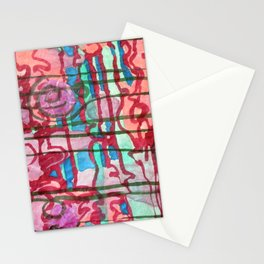 Plaid in pink and green Stationery Cards