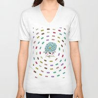 macaroons V-neck T-shirts featuring Vortex of Macaroons  by Pug Whimsy