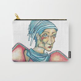 Blue Hat Woman Carry-All Pouch