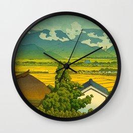 Kawase Hasui Vintage Japanese Woodblock Print Beautiful Mountain Valley Farmland Yellow Hues Wall Clock